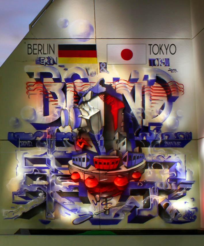 Berlin-Tokyo Mural with ImaOne / Tokyo / 2013